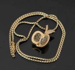 Gold necklace WITH Apple pendant, 585 yellow gold.