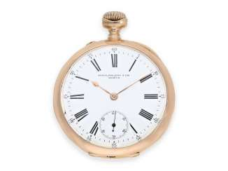 Pocket watch: Golden-red Patek Philippe Anker chronometer with rare caliber, original box and original papers from 1899!