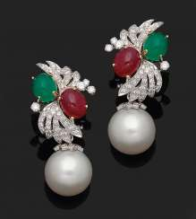 Some representative South sea pearl clip-on earrings