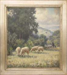KARL DEMETZ, SHEPHERD WITH FLOCK, acrylic/ canvas, Germany, 20. Century