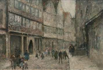 Street scene with children and musicians