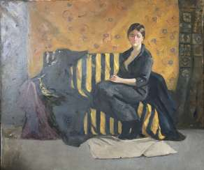 Girl on a yellow sofa