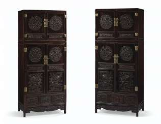 AN OUTSTANDING PAIR OF LARGE ZITAN COMPOUND CABINETS AND HAT...