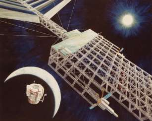 Three artist's concepts of solar satellites for future NASA missions, June, 1976