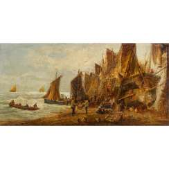 "SHAYER, W., probably William (1811-1892), ""Sailing ship and boats on the coast"","