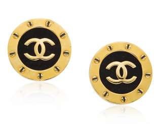 UNSIGNED CHANEL FABRIC LOGO EARRINGS