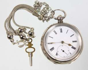 silver key pocket watch with chain