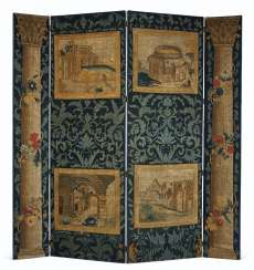 A CONTINENTAL NEEDLEWORK FOUR-PANEL SCREEN