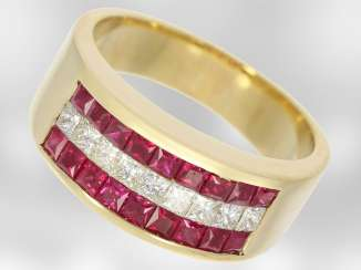 Ring: attractive Golden yellow ruby/diamond ring, total approx. 1,24 ct, 18K white Gold, the court jeweller Roesner
