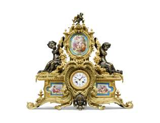 A NAPOLEON III ORMOLU AND SEVRES-STYLE TURQUOISE-GROUND PORCELAIN MANTEL CLOCK