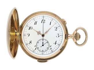 Pocket watch: large Swiss gold savonnette with repeater and Chronograph Invicta, No. 77372, CA. 1900
