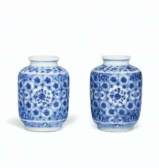 A PAIR OF SMALL MING-STYLE BLUE AND WHITE CYLINDRICAL VASES ...
