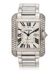 CARTIER DIAMOND AND WHITE GOLD 'TANK ANGLAISE' WRISTWATCH