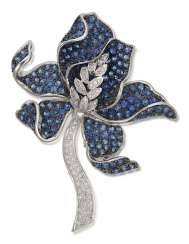 SAPPHIRE AND DIAMOND ORCHID BROOCH