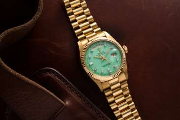 ROLEX, GOLD AND DIAMONDS DAY-DATE WITH BABY GREEN STELLA DIAL, REF. 1803