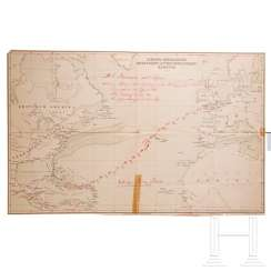 Heinrich Ernst Göring (1838 - 1913) - HAPAG-map with the travel route to Haiti in 1891