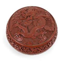 Round box with decoration of a dragon in lacquer red