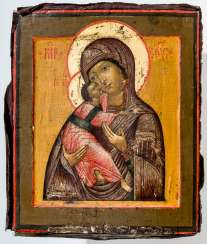 Icon of the mother of God of Vladimir with Silberoklad and rear-side dedication
