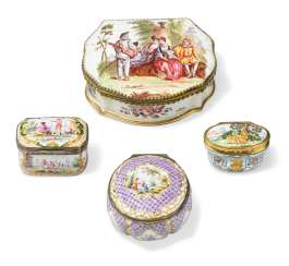 A GROUP OF CONTINENTAL ENAMEL SNUFF-BOXES AND COVERS