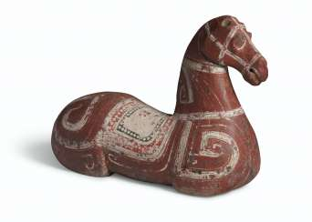 A PAINTED DARK GREY POTTERY TORSO OF A HORSE
