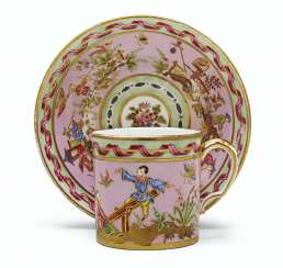 A SEVRES (HARD PASTE) PORCELAIN PINK AND MINT-GREEN CUP AND ...