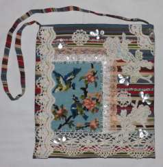 Bag, cotton, embroidery, lace.