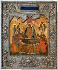 Very early in the Museum's icon of the Dormition of the mother of God with Silberoklad