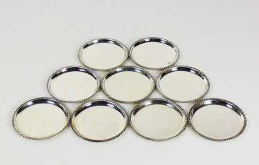 Set of 9 glass coasters