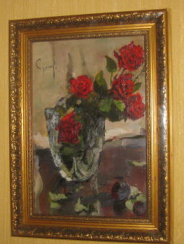 Painting Oil Roses Red Flowers
