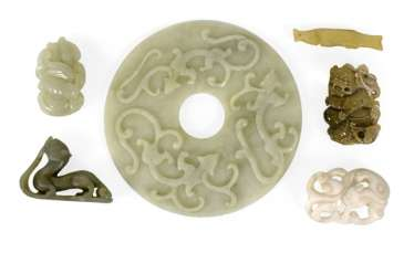 Six Jade Work, including a Bi disc with relief decoration