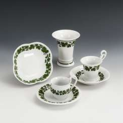 2 mocha cups, quatrefoil bowl and crater vase with vine leaf decoration