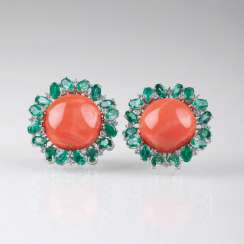 Pair of large flower earrings with coral, emeralds and diamonds.