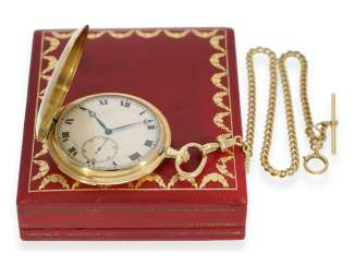 Pocket watch: extremely rare Cartier gold savonnette minute repeater, high quality Golden watch-chain, and Cartier's original box, approx. in 1915