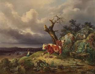 Landscape with cows and shepherdess. Mahlknecht, Edmund