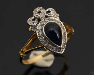 ART NOUVEAU RING WITH SAPPHIRE