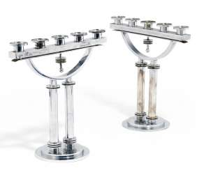Pair of large Modernist Machine Age candelabra
