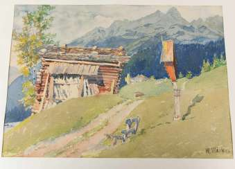 GRAPHIC AND WATERCOLOR mixed lot, lake and mountain landscape, Germany, 20. Century