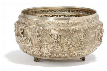 Significant silver bowl with Jataka scenes