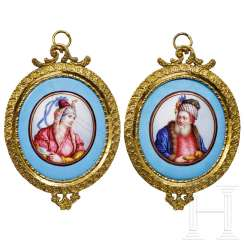 Two oriental portrait miniatures, 1st half of the 19th century