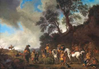 Cavalry camp, with the arrest of a spy. Philips Wouwerman