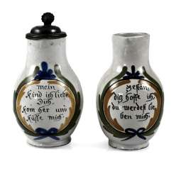 TWO SMALL JUGS WITH SAYING,