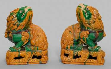 Pair Of Sancai Guardian Lion
