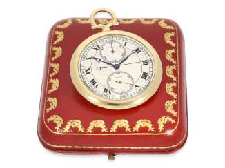 Pocket watch: large, rare Cartier Chronograph with vertical registers, Art Deco, CA. 1930, with original box