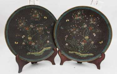 PAIR of CLOISONNE DISHES ON wood stands, China, without a Dating stamp.