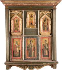 SIX ICONS WITH THE EUCHARIST, AND THE FIVE SAINTS