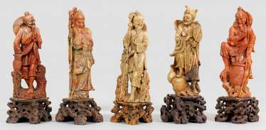 Five large soapstone carvings