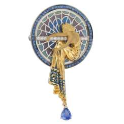 Brooch of gold set with sapphires and glass enamel