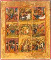 RARE ICON OF NEW TESTAMENT TRINITY AND SCENES FROM THE LIFE OF JESUS