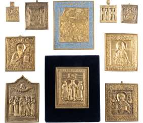 COLLECTION OF TEN BRONZE ICONS WITH SELECTED SAINTS