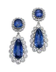 EARLY 19TH CENTURY SAPPHIRE AND DIAMOND EARRINGS